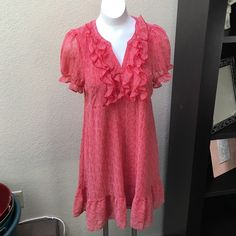 """H&M red and white polka dot dress 100% polyester. 37"""" in length. Shell & lining. H&M Dresses"""