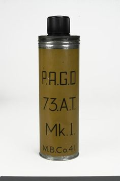 Grenade, hand, anti-tank, No 73 Mk 1 ('Thermos Flask'). Although originally made as an anti-tank grenade, it was made obsolete when better anti-tank grenades became available, and whilst not particularly useful in the anti-tank role, it made a good demolition charge due to its large explosive content. Its re-introduction was probably as a small demolition charge for use by the infantry against pillboxes and dug in positions.
