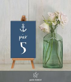Wedding Reception Table Number DIY // Nautical by JadeForestDesign