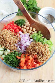 Garbanzo Summer Salad with Creamy Dill Dressing | Vanilla And Bean