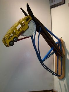 'Horse Head' (2007) by American artist Leonard Streckfus (1951). Found metal, rubber & wood assemblage. via Steven Scott Gallery