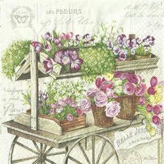 Servítka Kvety na vozíku