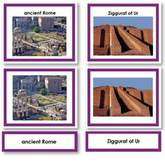 Montessori 123 - Historical Three Part Cards with Photos for Archaeology Studies - Montessori Materials Ancient Ruins, Ancient Rome, Montessori Materials, Historical Sites, Archaeology, Card Stock, Gallery Wall, Study, History