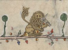 lion playing the violin in the Breviary of Renaud de Bar, France, 1302-1303