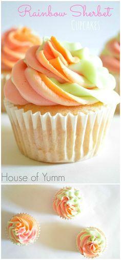 Rainbow Sherbet Cupcakes www.thenymelrosefamily.com #cupcakes #sherbet