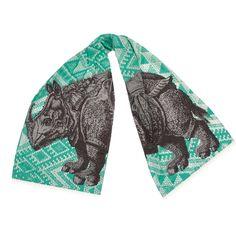 Rhino Scarf. Hand silk-screened. Design by thomaspaul.