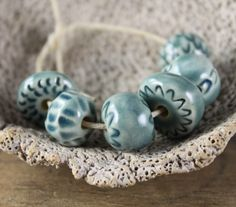 Handmade stoneware ceramic beads Blue Assortment (6) by ChelleV2 on Etsy