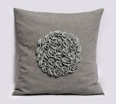 Decorative Pillow Cover  Floral Gray  Grey cotton by Pillowation, $38.00