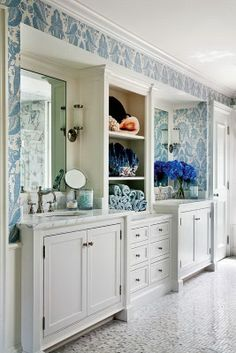 Vanity with Center Cabinet - Bathroom Accessories - Bathroom Wallpaper - Jennifer Taylor Design Blog: A Warm Bath