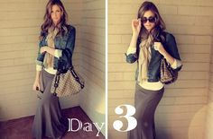 Maxi skirt and denim jacket | Maxi skirt and jean jacket
