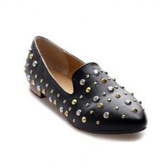 $13.42 Casual Women's Flat Shoes With Rivet and Pure Color Design