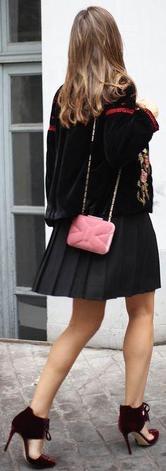 #fall #outfit #ideas ·  Velvet Jacket // Black Skirt // Pink Shoulder Back // Velvet Pumps