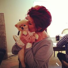 Sharon Osbourne with a special backstage smooch for her adorable pup Bella!