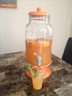 Summer Peach Punch: 2L carton of lemonade, 1 frozen can peach juice+water, 2 cups pineapple juice, 2L bottle Sprite, mango nectar, fresh slices of 1 peach and 1 orange, and 1/4cup fresh mint. Delish!