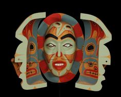 David Neel Two Spirited Transformation Mask - Carved Alder and Yellow Cedar 15  H. 19  W.  Fine Cond