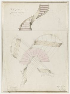 Drawing, Perspective and Plan View of a Spiral Staircase, January 1887