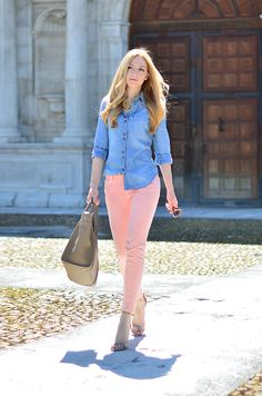 Henar Vicente - Denim shirt by Mango, pastel jeans by Zara, bag by Celine, shoes by Isabel Marant