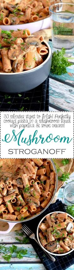 Mushroom Stroganoff - A one-pot vegetarian version of a Russian classic dish; relive the 1980s with this nostalgic, home-style, comforting Mushroom Stroganoff!