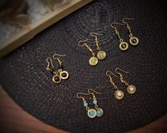 Brass earrings short dangle African Tribal by afroplatterhub