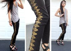 studs and pearls: diy: Stamped Geometric Jeans