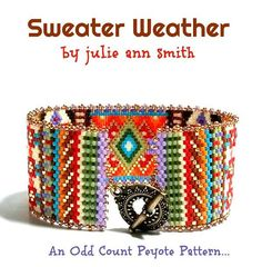 You are purchasing an odd count peyote digital pattern....NOT THE ITEM IN THE PHOTO!! With FALL looming in my mind, I've created SWEATER WEATHER! Fall is simply my most favorite time of the year. For me, it brings on afternoons sitting at the coffee bar, Chai tea in hand, good