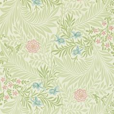 William Morris & Company   Products   British/UK Fabrics and Wallpapers   Larkspur in Green/Coral (DARW212558)   Archive II Wallpapers