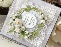 First Communion Cards, Baptism Cards, First Holy Communion, Wedding Anniversary Cards, Wedding Cards, Letter Wreath, Scrapbook Cards, Scrapbooking, Heartfelt Creations