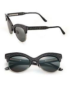 Bottega Veneta 52MM Leather & Acetate Extreme Cat's-Eye Sunglasses
