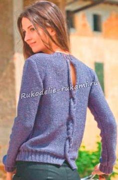 Пуловер с разрезом на спине спицами 2