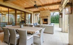 Contemporary Porch with French doors, exterior stone floors