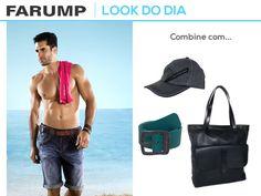Vamos a uma sugestão de look masculino para o fim de semana? A nossa dica de hoje fica por conta de uma bermuda jeans, lançamento da coleção alto verão 2013 da Farump Jeans. Veja como combiná-la com uma bolsa e acessórios.
