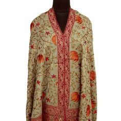 """Ibaexports Beige Elegant Pure Wool Shawl Crewel Thread Embroidery Pashmina Stole Wrap India 80"""" X 40"""" Inches IBA. $154.99"""