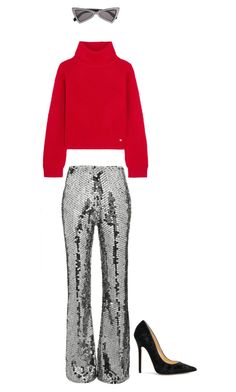 """""""Disco Pants."""" by lucillefourny ❤ liked on Polyvore featuring Filles à papa, Versace, Jimmy Choo and Yves Saint Laurent"""