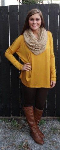 Mustard top with tan scarf, brown leggings, and tan boots - Studio 3:19
