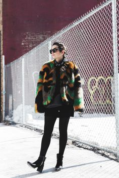 Colorful fur. #NYFW