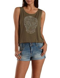 Caged Side Skull Graphic Tank Top: Charlotte Russe #skulls #graphics