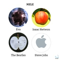 La storia della modernità in 4 mele!   #isaacnewton #eva #stevejobs #thebeatles #mele #apple #geekquote #geek #nerd #tech #storia #history