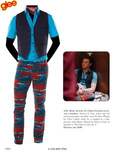 """Kurt (played by Chris Colfer) elevator ensemble. (Season 6) Gray jacket and red cloud print pants ensemble worn by Kurt (Played by Chris Colfer) while he is trapped in a fake elevator with Blaine (Played by Darren Criss) in Episode 5: """"The Hurt Locker, Pt. 2""""."""