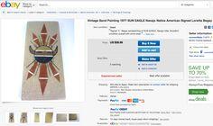 "LORETTA BEGAY sand painting for sale  4"" x 8"" http://www.ebay.com/itm/Vintage-Sand-Painting-1977-SUN-EAGLE-Navajo-Native-American-Signed-Loretta-Begay-/370956294323?hash=item565eb7d8b3"