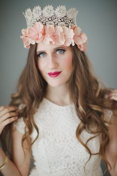 Vintage Lace and Floral Crown Flower Crown by WeddingsByTrinity Floral Crown, Crown Flower, Vintage Lace, Headpiece, Trending Outfits, Unique Jewelry, Handmade Gifts, Flowers, Wedding