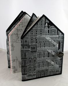 house journal by Sue Bleiweiss. Cool idea-keeping track of all of the places you visit by connecting them in one long folded map/drawing book Journal Covers, Book Journal, House Journal, Art Journals, Handmade Journals, Handmade Books, Handmade House, Handmade Notebook, Up Book