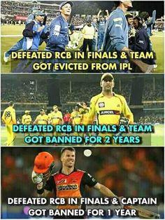 RCB be like: mujhe haraega saale abhi tumhari khabar Leta hu Funny Minion Memes, Very Funny Memes, Funny School Memes, Funny Facts, India Cricket Team, Cricket Sport, Crickets Funny, Virat Kohli Instagram, Dhoni Quotes