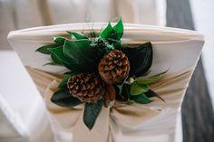 Venue Florals: Calgary Wedding Florist- Flowers by Janie Magnolia Leaves, Winter Wedding Flowers, Indoor Flowers, Outdoor Venues, Wedding Chairs, Calgary, Fresh Flowers, Floral Design, Pine Cones
