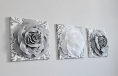 Gray Damask Print Wall Art Bathroom Set Decor Bathroom Print