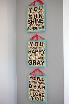 twins nursery wall decor. you are my sunshine. made by my very talented sister :)