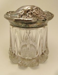 Art NOUVEAU Antique HUMIDOR Tobacco Jar Glass molded Silverplate 1900s 6 in tall 5 in diameter