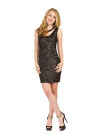 PD-7606 - V-Neck Sequin Dress - Colors: As Shown - Available Sizes:XS-XXL - Catalog Page:45