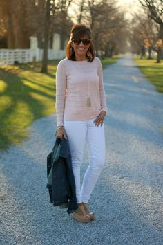 27 Days of Spring Fashion: Pink Sweater with White Jeans - Grace & Beauty