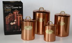 country french elegance  | LooK Vintage Country French Elegance 4 piece Copper Canister Set in ...