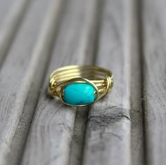 Turquoise Ring  Turquoise Jewelery Boho ring brass by Minkykitten